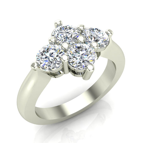 4 Stone Quad Diamond Promise Ring 14K Gold 1.40 ctw (I,I1) - White Gold