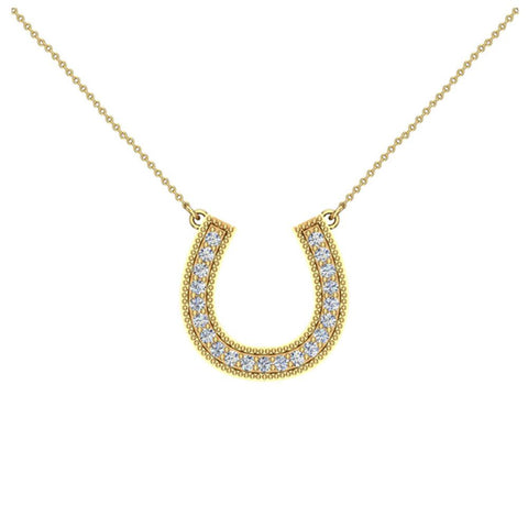 0.30 ct tw Diamond Horse shoe Necklace 14K Gold (G,SI) - White Gold
