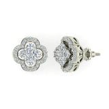 Unique Diamond Loop Stud Earrings Cluster 14K Gold (I,I1) - White Gold