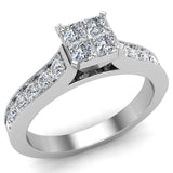 Four Quad Princess Cut Diamond Cathedral Accent Engagement Ring 14K Gold (G,SI) - White Gold