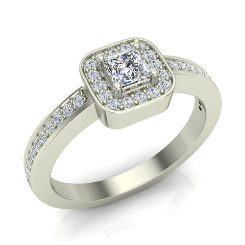 Princess Cut Diamond Ring Promise Style Petite Cushion Halo 14K Gold 0.39 ctw (G,I1) - White Gold