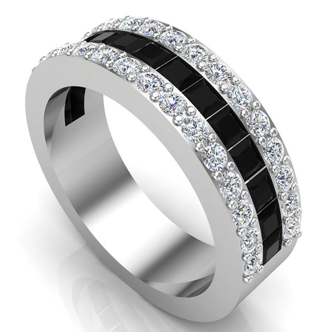Mens Wedding Rings / Unisex Black Diamond 14K Solid Gold  Accented Wide Halfway Diamond Ring 3.72 carat tw - White Gold