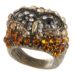 Joan Rivers Pave' Crystal Owl Cocktail Ring