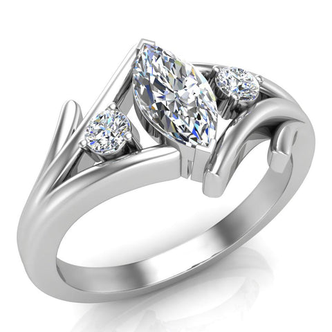 Marquise Cut Bypass Engagement Ring 18K Gold (G,VS) - White Gold