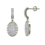 Pave Set Oval Dangle Diamond Earrings 14K Gold (I,I1) - White Gold