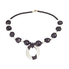 "Lee Sands Kukui Nut 25"" Necklace with Inlay Pendant"
