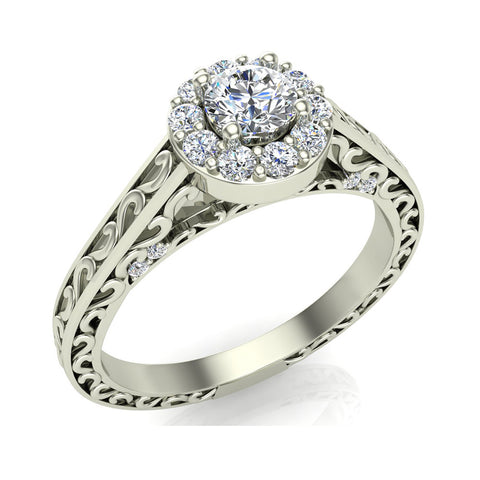 14K Gold Vintage Style Halo Diamond Promise Ring 0.40 ct (I,I1) - White Gold