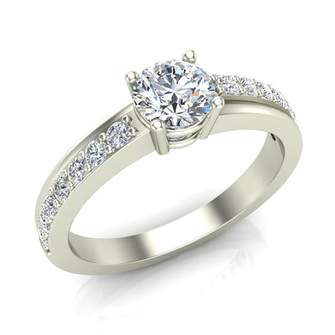 Minimalist Promise Diamond Ring 0.78 Ctw 14K Gold (I,I1) - White Gold