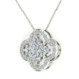 0.80 ct tw Loop style Flower Cluster Diamonds Necklace 18K Gold (G,VS) - White Gold