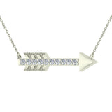 18K Gold Necklace 0.11 ct Diamond Arrow Pendant (G,VS) - White Gold