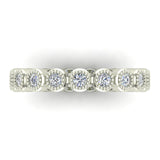 0.60 ct.tw Bezel Set Milgrain outline Diamond Stackable Band 18k Gold (G,VS) - White Gold
