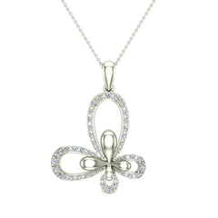 18K Gold Necklace Butterfly Diamond Necklace in White Gold