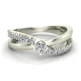 Minimalist Twin Shank Promise Diamond Ring 14K Gold 0.40 CTW (I,I1) - White Gold