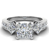1.40 ct tw Princess Cut Center Diamond Engagement Ring 18K Gold (G,VS) - White Gold
