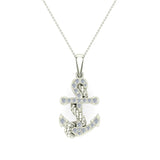 Anchor Diamond Pendant in 14K Gold (I,I1) - White Gold
