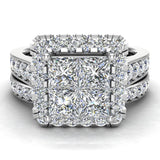 Princess Cut Wedding Rings Set for Women 18K Gold Quad Illusion 1.80 ct tw (G, VS) - White Gold