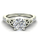 0.90 Carat Art Deco Trinity Knot Solitaire Wedding Ring 14K Gold (G,I1) - White Gold