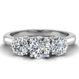 Round Brilliant Diamond Three Stone Anniversary Wedding Ring in 14K Gold (G,SI) - White Gold