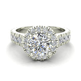 1.81 Carat Total Weight Dual Row Wide Shank Halo Diamond Engagement Ring 14K Gold (I,I1) - White Gold