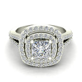 Magnificent Princess Diamond Cushion Halo V Shank Engagement Ring 1.47 ctw 14K Gold (G,I1) - White Gold