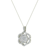 18K Gold Necklace Flower Diamond Loop Statement piece (G,VS) - White Gold