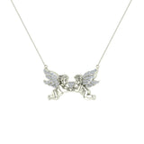 14K Gold Necklace Twin Angels & Wings Diamond Charm Pendant (I,I1) - White Gold