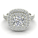 Cushion Halo Diamond Engagement Ring 1.35 Carat Total Weight Y Style Setting 18K Gold (G,VS) - White Gold