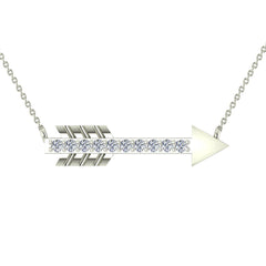 18K Gold Necklace 0.11 ct Diamond Arrow Pendant in White Gold