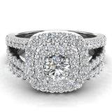 Cushion Halo Split Shank Diamond Wedding Ring Set 14k Gold (I,I1) - White Gold