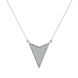 14K Gold Chevron Shape Arrow Pendant Pavé set Diamonds Necklace 0.50 Carat Total Weight (I,I1) - White Gold