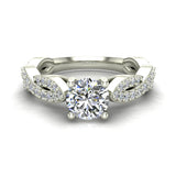 Solitaire Diamond Braided Shank Engagement Ring 14K Gold (I,I1) - White Gold