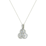 14K Gold Necklace Three stone Diamond Loop Pendant (I,I1) - White Gold
