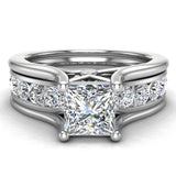 Princess Cut Adjustable Band Engagement Ring Set 14K Gold (I,I1) - White Gold