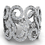 14K Gold Fashion Band Filigree Diamond Cocktail Ring (G,SI) - White Gold