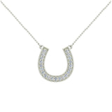 0.30 ct tw Diamond Horse shoe Necklace 18K Gold (G,VS) - White Gold