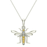 Insect Pendant Mosquito Charm Fly Necklace 14K Gold 0.09 ctw - White Gold