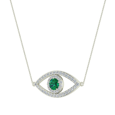 094 carat evil eye diamond sapphires pendant 14k gold necklace 094 carat evil eye diamond emerald pendant 14k gold necklace white gold aloadofball Image collections