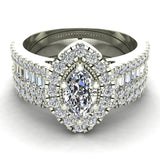 Statement Band Marquise Cut Halo Diamond Engagement Ring Baguettes 1.43 Carat Total 14K Gold (I,I1) - White Gold