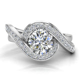 1.00 carat Intertwined Diamond Engagement Ring Twisted Shank 14K Gold Setting (G,SI) - White Gold