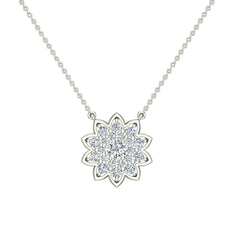 Flower Cluster Diamond Pendant on 14K White Gold