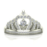 Fashion Princess Tiara Crown Diamond Ring 0.50 carat total weight Band Style 18K Gold (G,VS) - White Gold