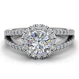 Split Shank Halo Diamond Ring 1.20 ctw Engagement Ring 14k Gold (I,I1) - White Gold