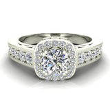 Passionate Cushion Halo Round Diamond Engagement Ring 1.00 ctw 14K Gold (G,I1) - White Gold