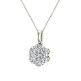 14K Gold Necklace Diamond Cluster Flower Style (G,SI) - White Gold