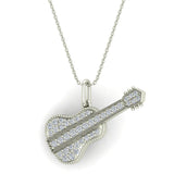 0.36 Carat Guitar Instrument Charm Diamond Necklace Music Jewelry 18K Gold (G,SI) - White Gold