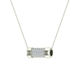 14K Gold Necklace Pave Diamonds Eternity Contemporary Capsule Shape Pendant 3/4 Carat Total Weight (I,I1) - White Gold