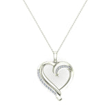 14K Gold Necklace Petite Heart Diamond Pendant Pave set ⅙ ctw (G,I1) - White Gold