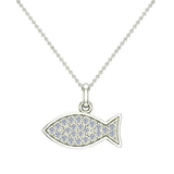 14K Gold Fish Pendant 0.27 ct tw Pave-set Diamond Charm (G,SI) - White Gold