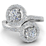 Two-Stone Diamond Halo Setting Engagement Ring 18k Gold (G,VS) - White Gold