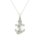 Anchor Diamond Pendant in 14K Gold (G,VS) - White Gold